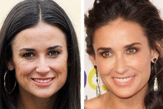 Demi Moore Difference then and now